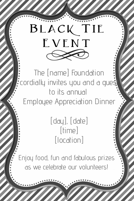 Formal Black Tie Employee Dinner Fundraiser Invitation