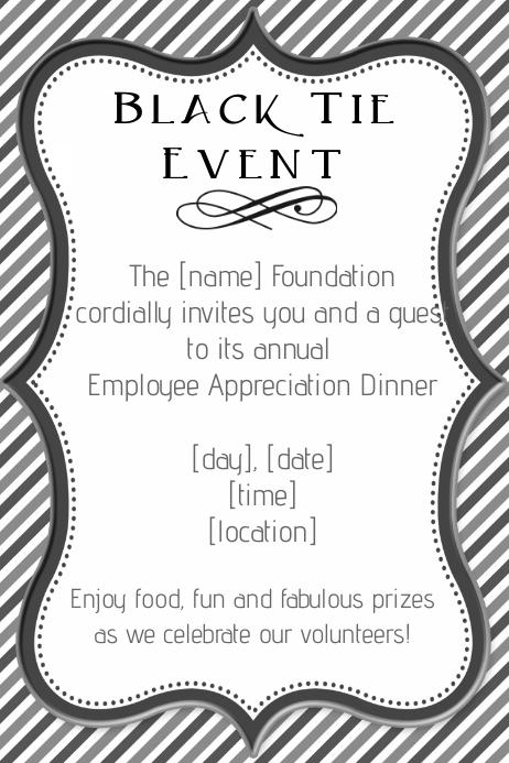 Formal Black Tie Employee Dinner Fundraiser Invitation