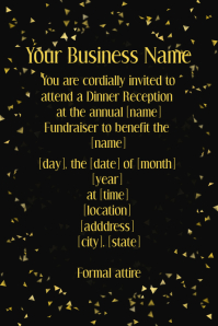 Formal Event Gold Confetti Invitation Dinner Reception  Business Event Invitation