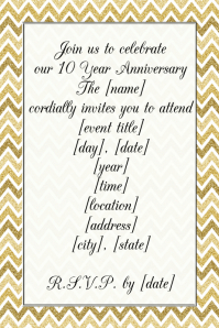 Formal gold glitter foil anniversary Event invitation flyer