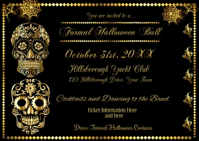 Formal Halloween Invitation Poskaart template