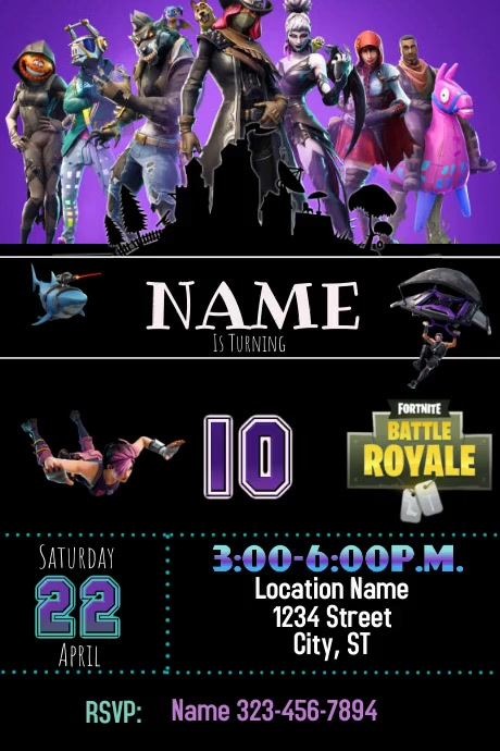 Fortnite birthday Plakat template