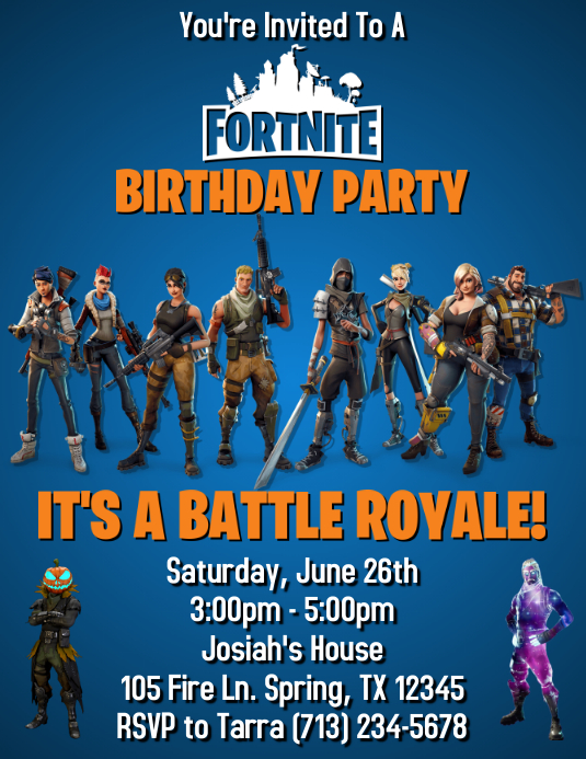 image regarding Fortnite Birthday Card Printable titled FORTNITE BIRTHDAY INVITATION Template PosterMyWall