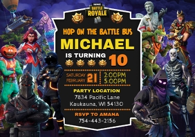 Fortnite Birthday Invitation A5 template