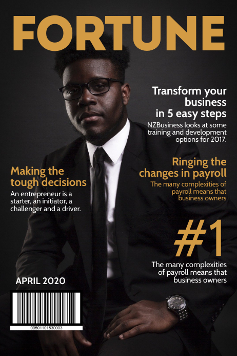Fortune business magazine cover Poster template