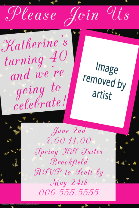 Forty 40th Birthday Party Poster Invitation Announcement