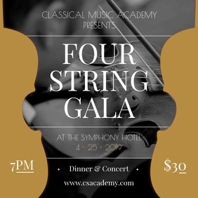 Four String Gala Music Academy Square Video template