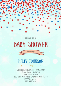Fourth of july baby shower invitation A6 template