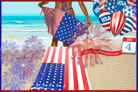 Fourth of July Beach Party America USA Red Blue Stars 4th