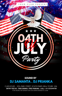 fourth of July Celebration ads Mezza pagina Wide template