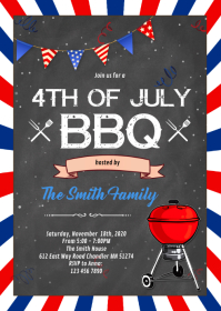 Fourth of July party invitation A6 template