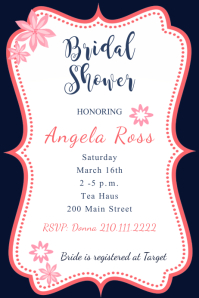 Framed Pink Bridal Shower Invite  Baby Shower Flyer Template Free