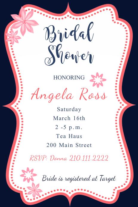 Framed Pink Bridal Shower Invite Template PosterMyWall - Bridal shower flyer template