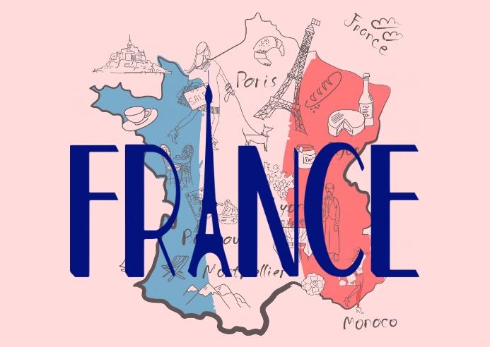 France Postcard Postal template