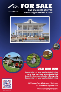 Franchise Real Estate Flyer, Red & Blue version
