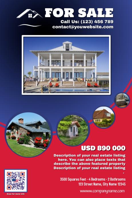 Franchise Real Estate Flyer, Red & Blue version 海报 template