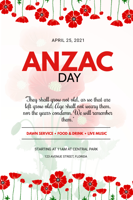 Free Anzac day Flyer Template Poster