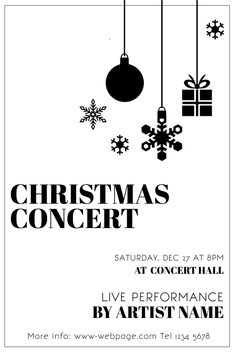 Free Black And White Christmas Party Concert Flyer Template - Black and white flyer template free