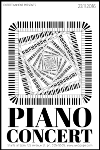 Free Black and White Piano Concert Flyer Template