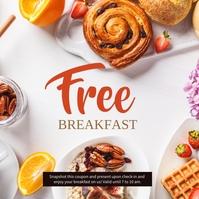 Free Breakfast Promotion Hotel & Resort Instagram 帖子 template