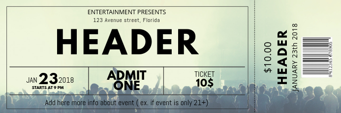 Free Concert Ticket Template Banner 2 x 6 fod