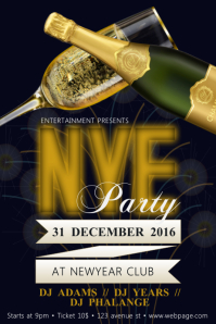 Free Customisable New Year Party Flyer Template