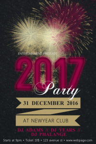 Free Customizable 2017 New Year Party Flyer Poster Template