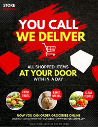 free delivery, home delivery, covid-19 Flyer (US Letter) template