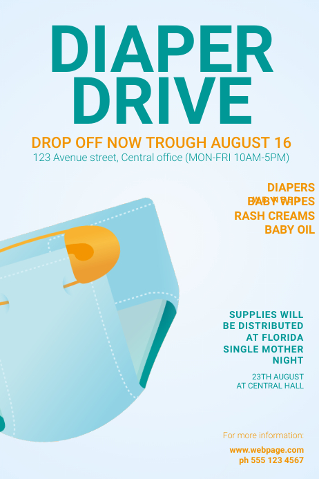 Free Diaper Drive Flyer Template Poster