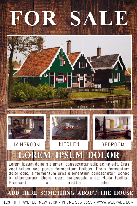 Free For Sale Real Estate House Wood Country flyer template