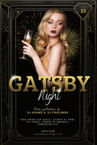 Free Gatsby Party Flyer Template 海报