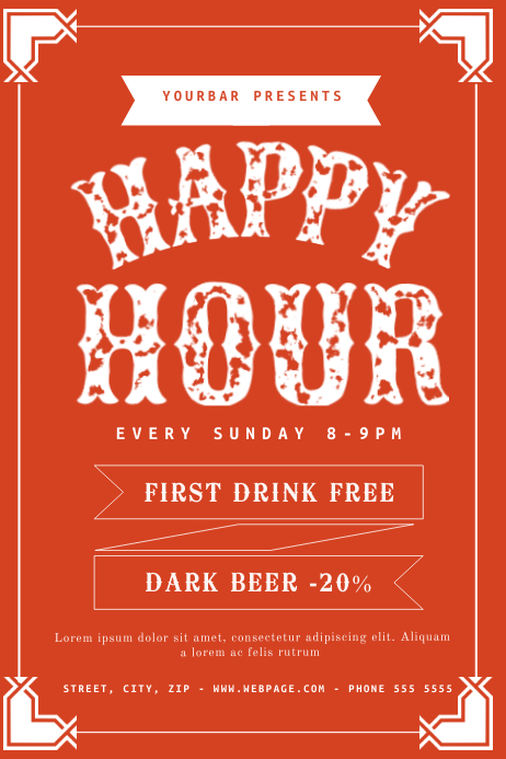 Free Happy Hour Flyer Template Postermywall
