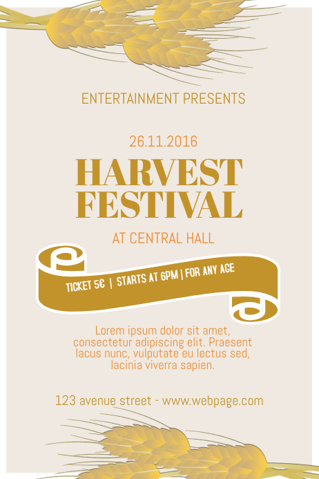 free harvest festival flyer template postermywall