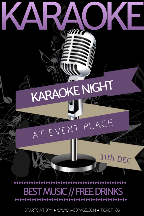 folleto de plantilla de flyer de karaoke gratis postermywall