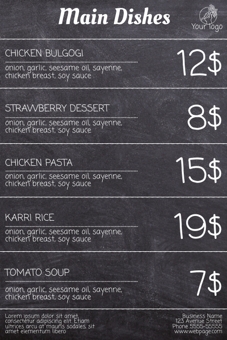 Free Menu Flyer Template without photos