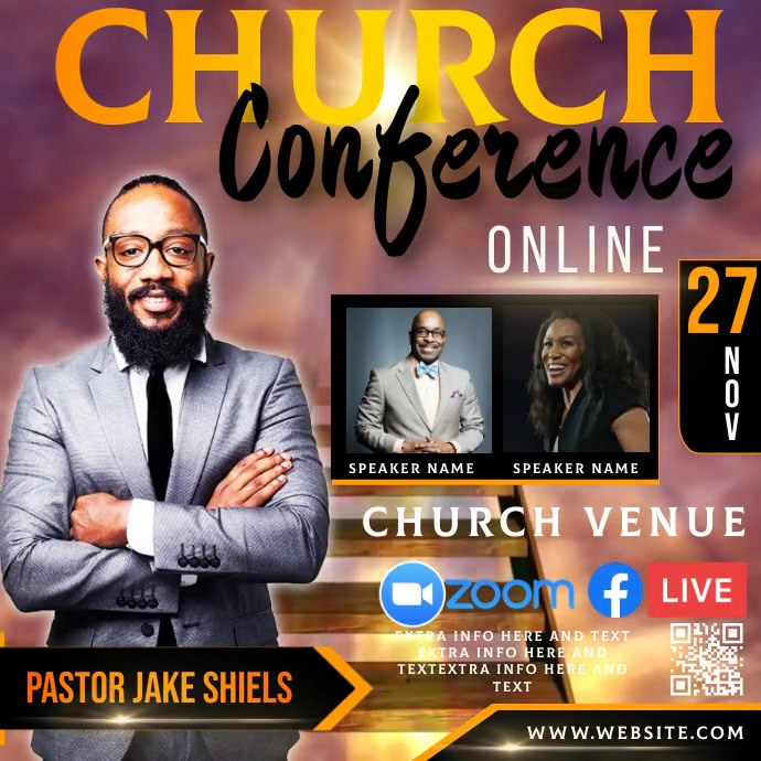 free online church conference ad template Instagram 帖子
