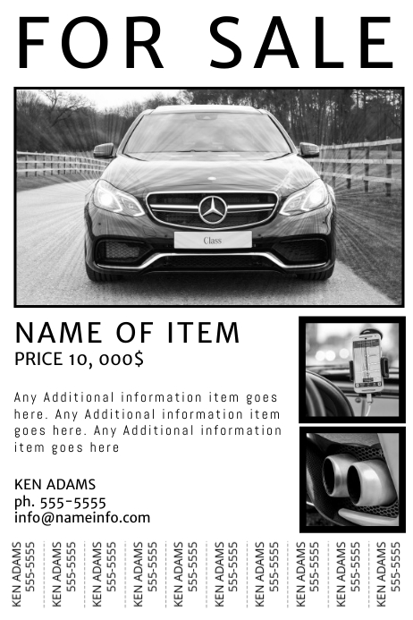 graphic about Printable for Sale Sign for Car referred to as Free of charge Printable For Sale Flyer With tear-off tabs Template