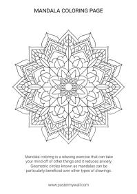 Free printable Mandala coloring Page A4 template