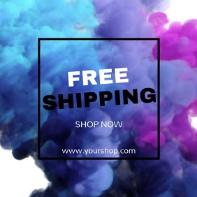 Free Shipping Advert Template Color Explosion