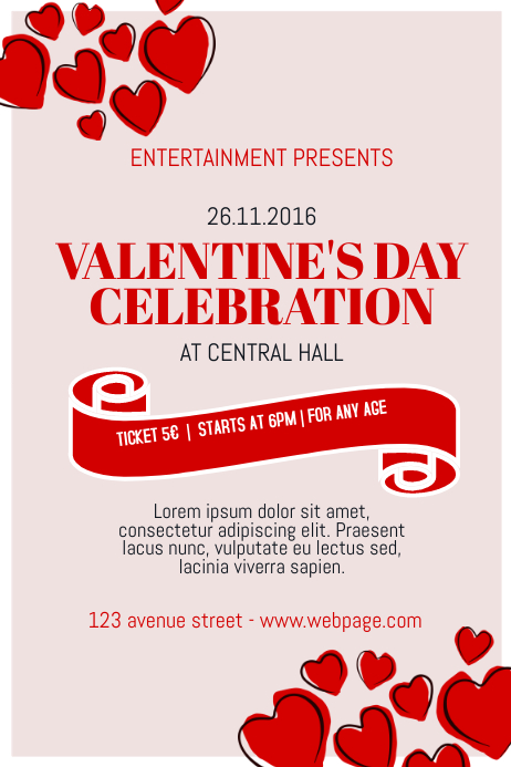 free valentine u0026 39 s day event poster template for valentine u0026 39 s