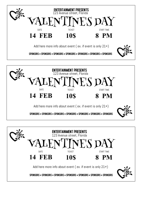 Free ValentineS Day Ticket Template  Postermywall