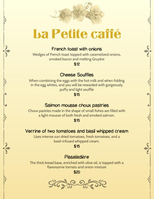 french bistro menu template