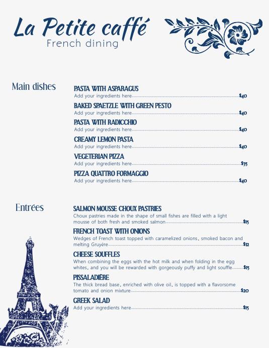 French Cafe Menu Template with Illustrations Pamflet (Letter AS)