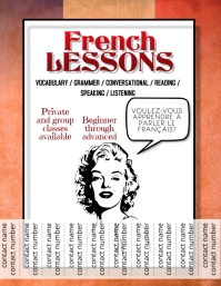 French Lessons Tutoring Language Flyer