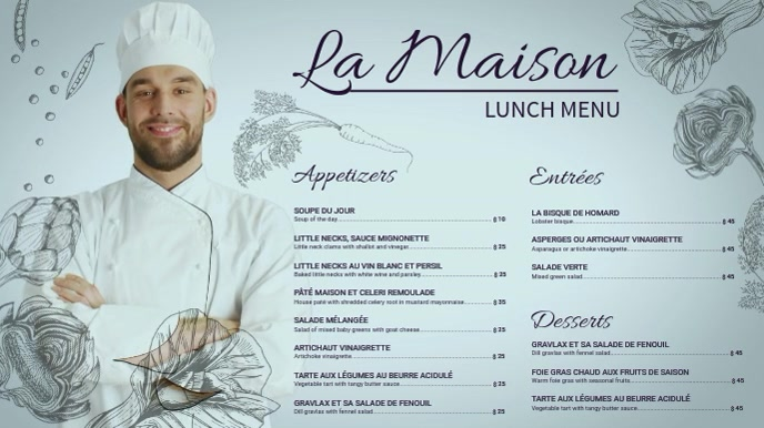 French Lunch Menu Template