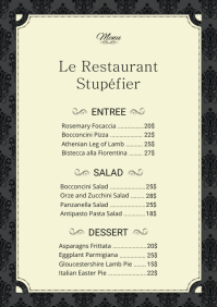 French Menu Card Template