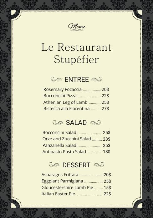 french menu card template