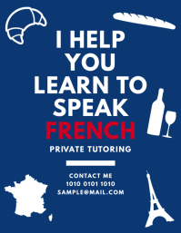 French Tutor Teaching Classes Flyer