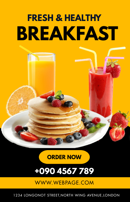 FRESH AND HEALTHY BREAKFAST FLYER Tabloid template