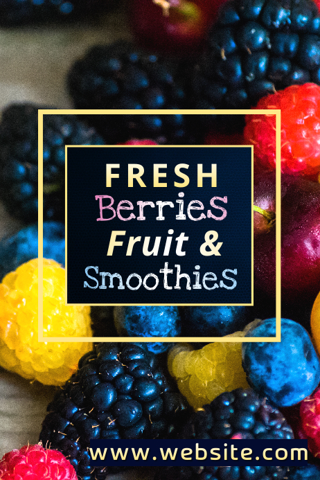 Fresh Berries & Smoothies Poster template